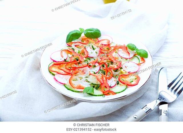 Frischer Frühlingssalat mit Gurken, Radieschen