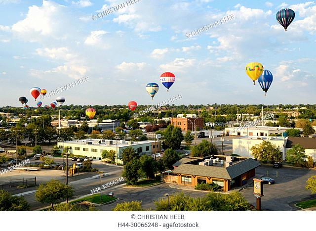 North America, American, USA, Idaho, Boise, balloons over the city