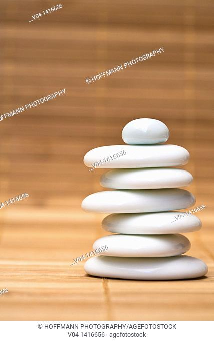 Stack of balanced white pebbles