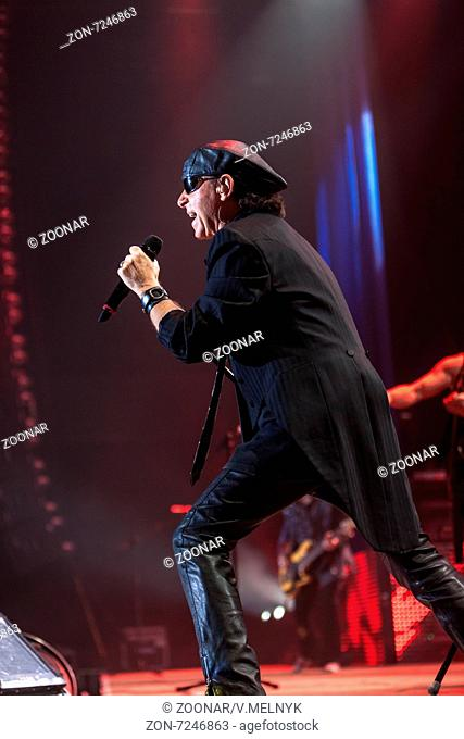 DNIPROPETROVSK, UKRAINE – OCTOBER 31: Klaus Meine from Scorpions rock band performs live at Sports Palace SC Meteor. Final tourconcert on October 31