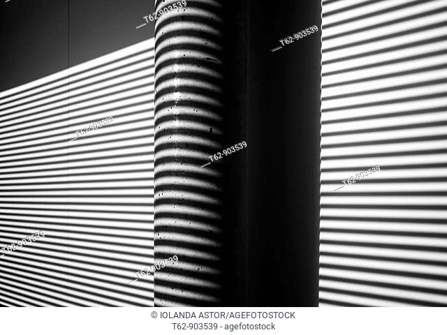 Lights and shadows on the wall  Inside  Lines  Black and white