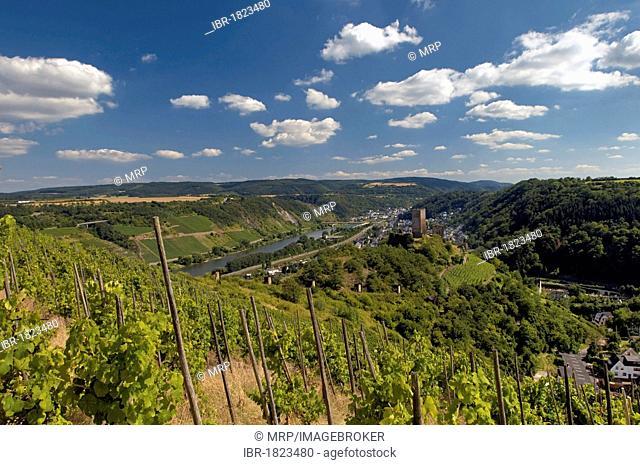 View towards Kobern-Gondorf on the lower Moselle River, Rhineland-Palatinate, Germany, Europe
