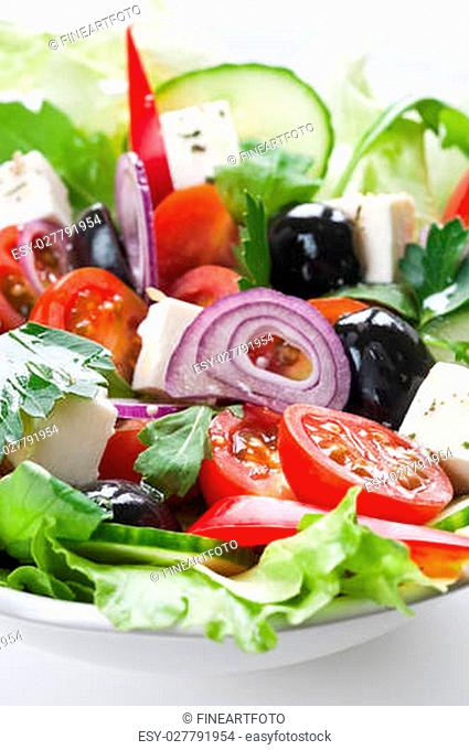 Greek salad with feta, cherry tomatos and black olives