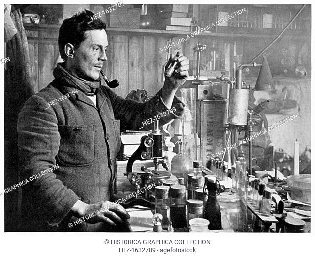 'Dr Atkinson in his Laboratory', 1911-1912. Edward Atkinson, the expedition's doctor, took over the leadership of the 'Terra Nova' expeddition after Captain...
