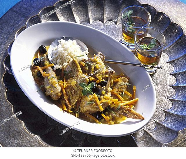 Guinea-fowl with pumpkin and olives Tunisian dish