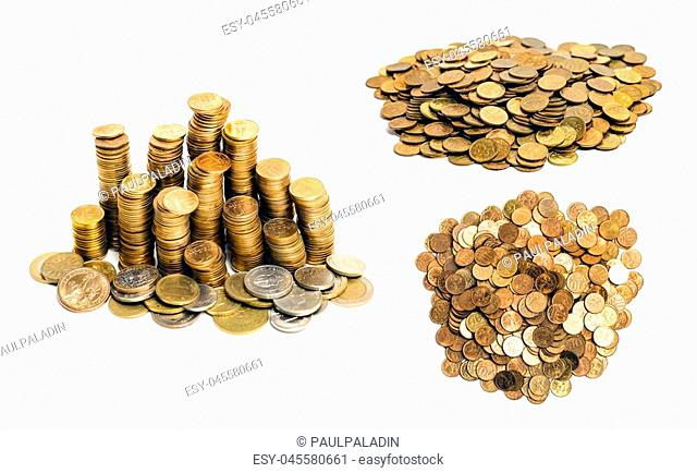 gold colored coins heap and stack isolated on white