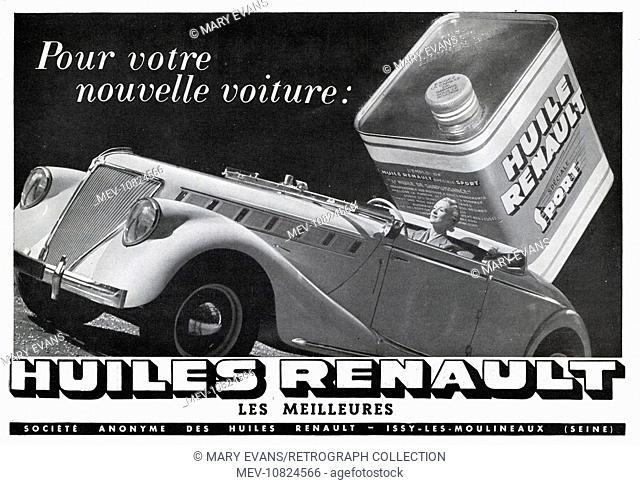 Art Deco Magazine Advertisement for Renault car oils