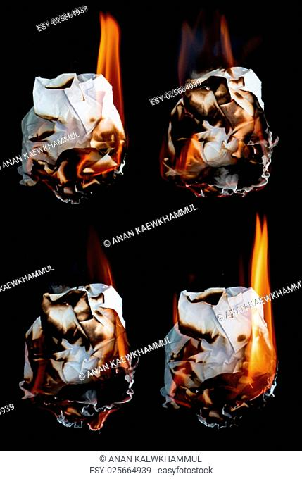 paper burning collection on black background