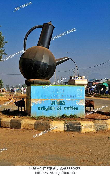 Coffee pot roundabout in Jimma, Kaffa region, Oromia, Ethiopia, Africa