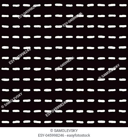 Hand drawn style ethnic seamless pattern. Abstract grungy geometric shapes background in black and white