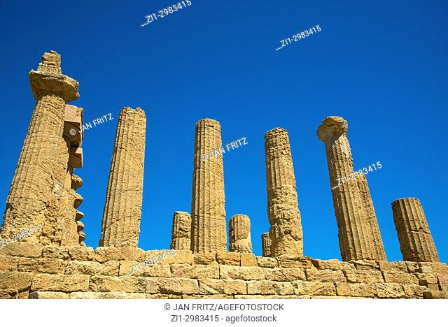 Pilars at the ruins of Temple of Juno in the Valley of the Temples, Agrigento, Sicily, Italy