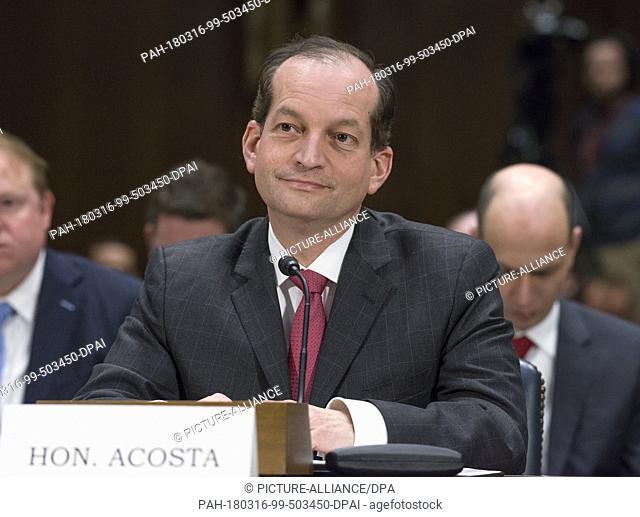 United States Secretary of Labor Secretary Alexander Acosta testifies before the United States Senate Committee on Commerce, Science