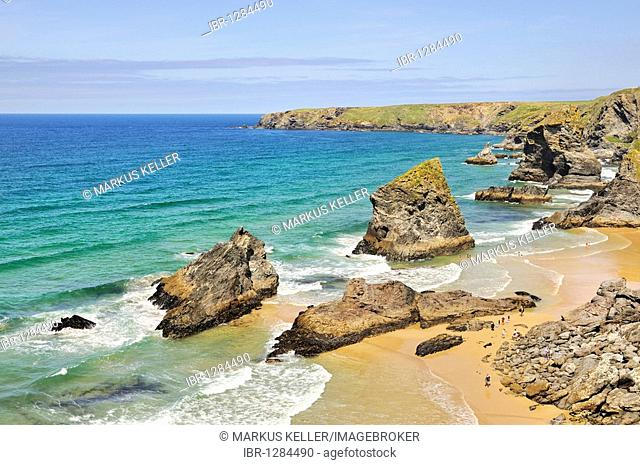 Cliff formation Bedruthan Steps in Newquay on the north coast of Cornwall, England, United Kingdom, Europe