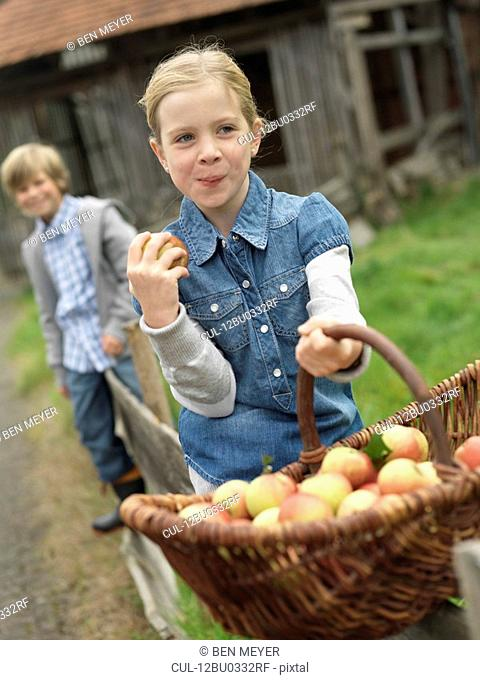 Girl with apple basket eating apples
