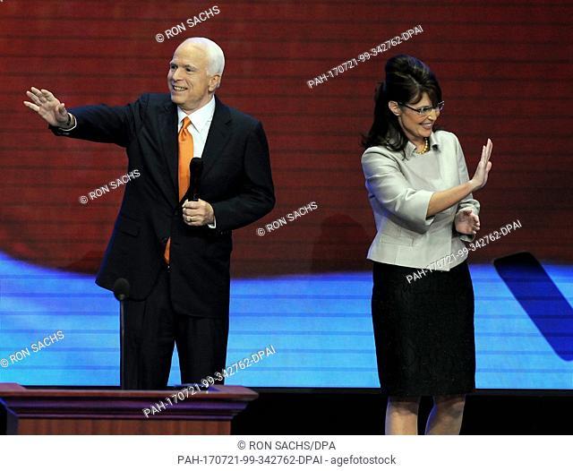 St. Paul, MN - September 3, 2008 -- Governor Sarah Palin of Alaska, right, and United States Senator John McCain (Republican of Arizona) on the podium after she...