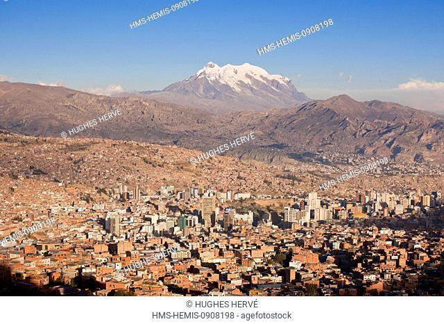 Bolivia, La Paz Department, La Paz, downtown and the Illimani volcano (6430 m)
