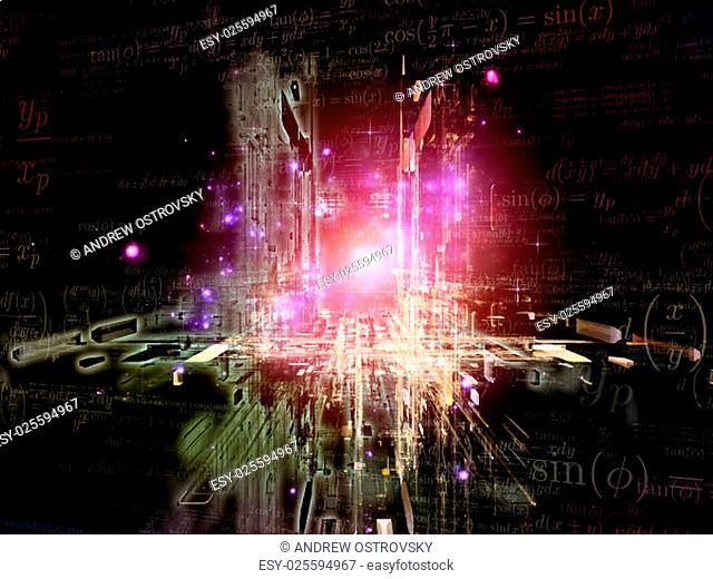 Toward Technology series. Abstract design made of light trails and fractal structures on the subject of science, education and technology