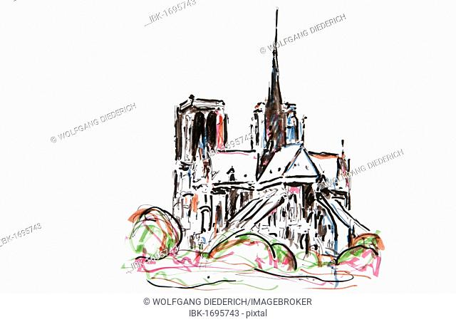 Notre Dame Cathedral, Paris, France, drawing by Gerhard Kraus, Kriftel