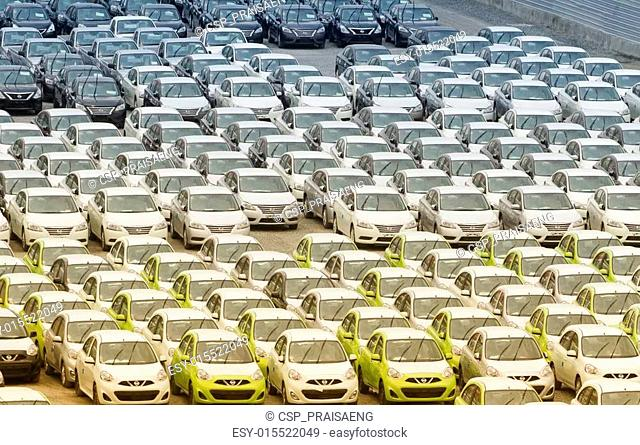 Samut Prakan,Thailand -24 August,2014:Row of new vehicles parke