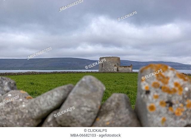 Ruins of Martello tower and barracks at Finavarra Point, Co.Clare, Ireland, Europe