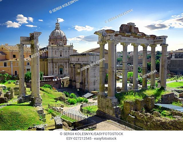 Ruins of Roman Forum at sunny summer day, Italy