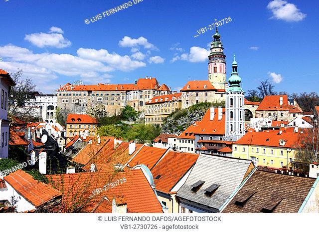 Overview of the Unesco listed town of Cesky Krumlov with Castle and St Jost church Czech Republic