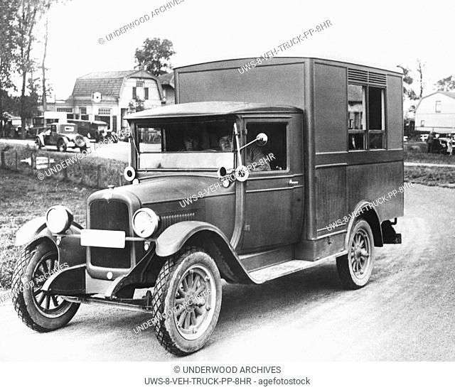 Sloten, Holland: 1928 One of the wireless equipped Chevrolet trucks that gave the Dutch people the results of the Olympic Games rowing events as soon as they...
