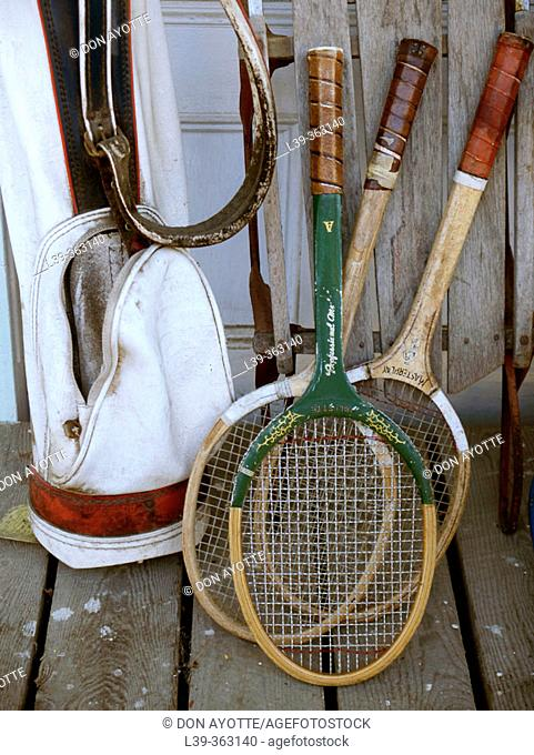 Tennis golf. Old clubs and rackets at an old country store