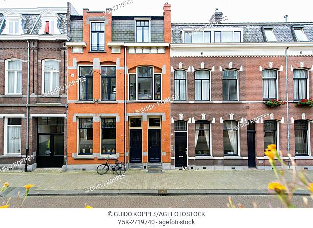 Tilburg, Netherlands. Facades of one century old residential houses in the down town area of the 6th city of the country