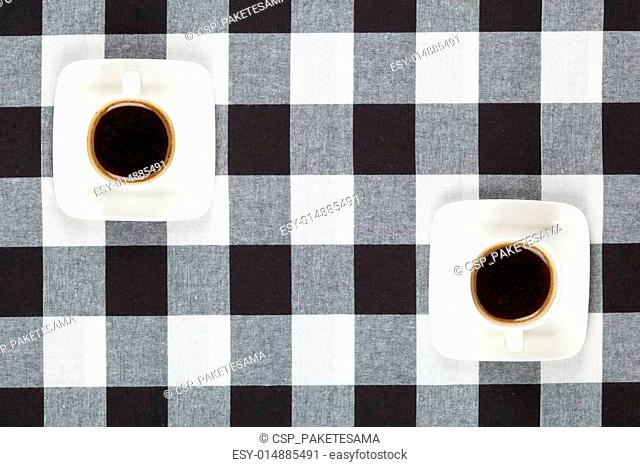 Two cups of coffee top view