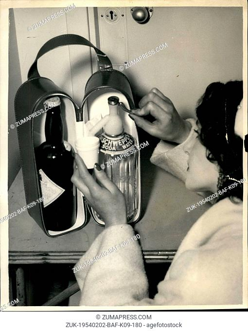 Feb. 02, 1954 - Leather Goods Industries Fair In London. Drinks For The Journey; Many items in leather and plastic - such as handbags - travel goods etc