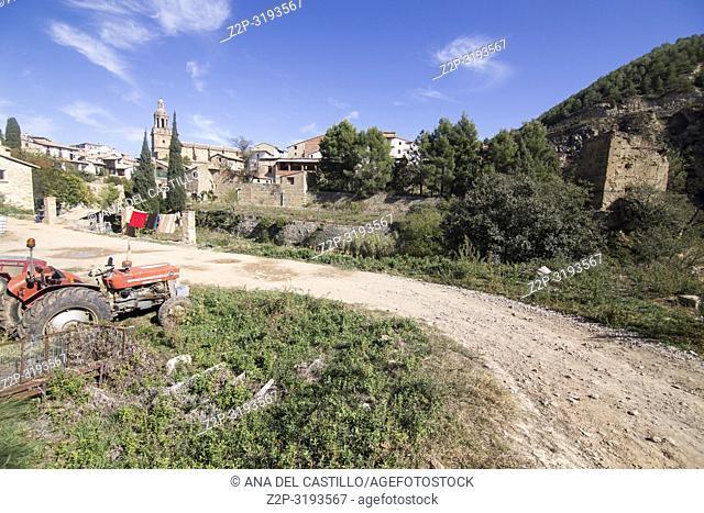 Autumn in Rubielos de Mora village Teruel Aragon Spain