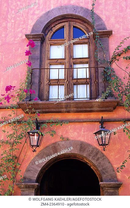 Detail of the front of the hotel Posada de los Flores in Loreto in Baja California, Mexico