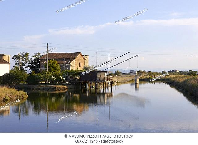 Fishing hous along the Canal in Cervia, Ravenna province. italy