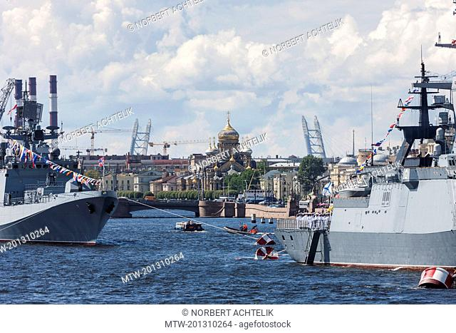 Marine boat and Church of the Assumption, Neva River, Saint Petersburg, Russia
