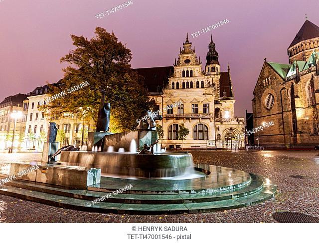 Fountain Poseidon on Domshof Plaza in Bremen Bremen, Germany