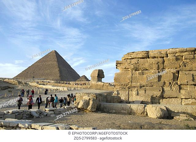 Great Sphinx and Pyramids, It is the oldest of the Seven Wonders of the Ancient World and the only one to remain largely intact