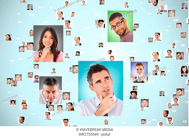 Flying portraits of business people