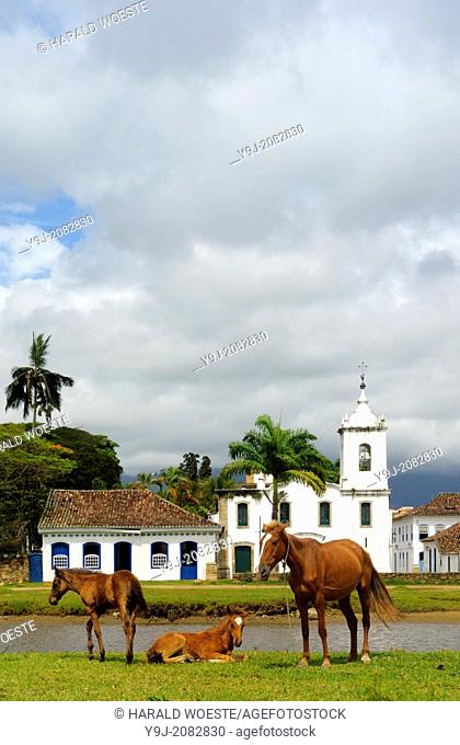 Horses in front of the church Igreja Nossa Senhora das Dores; Paraty, Espirito Santo, Brazil. The beautiful colonial town of Paraty has been a UNESCO World...