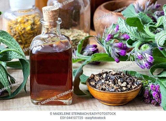Comfrey tincture with fresh symphytum officinale plant and dried root