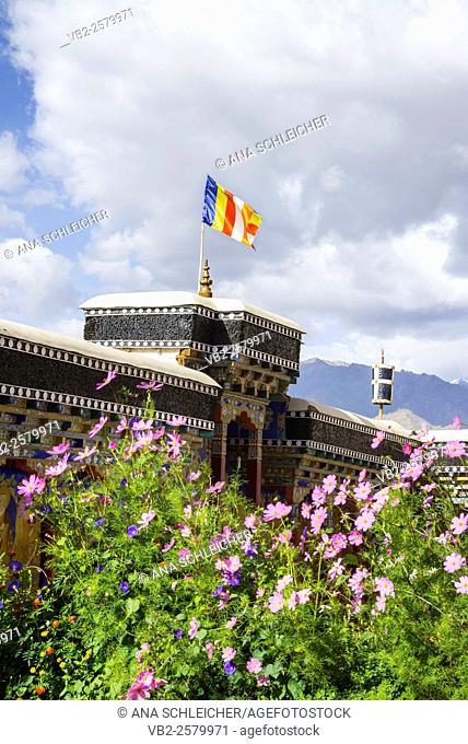 Tibetan flag waving in Thicksay gompa, Ladakh, India