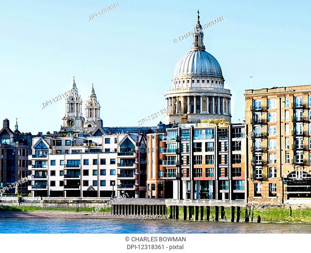 St Paul's Cathedral and riverside buildings; London, England