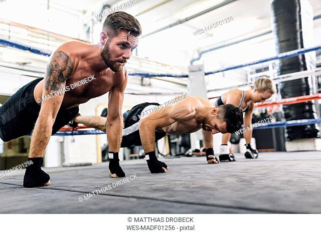 Athletes exercising in boxing club