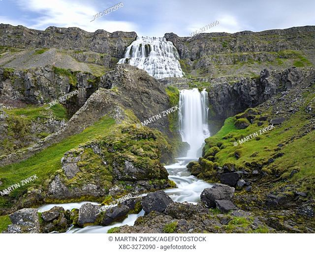 Waterfall Dynjandi, an icon of the Westfjords. The remote Westfjords (Vestfirdir) in north west Iceland. Europe, Scandinavia, Iceland