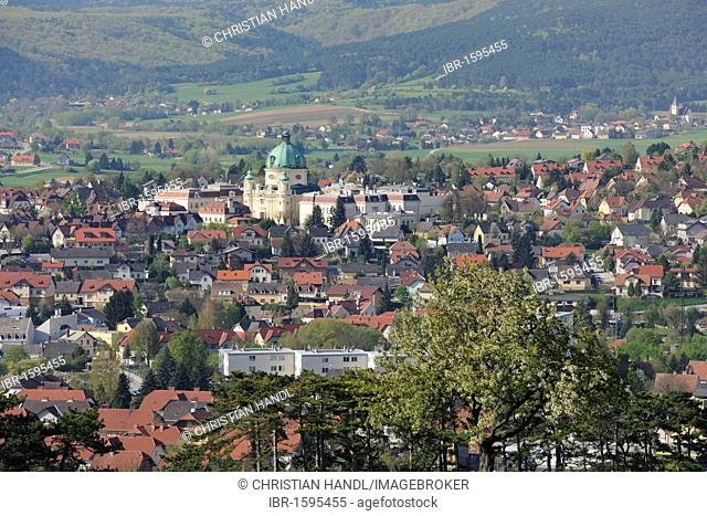 View of Berndorf, Kremesberg mountain, Triestingtal valley, Lower Austria, Austria, Europe