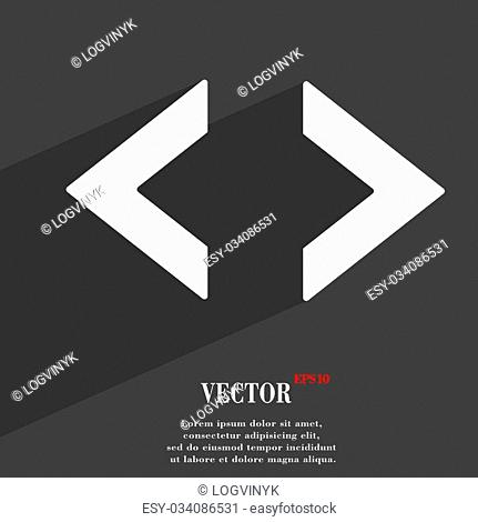 Code icon symbol Flat modern web design with long shadow and space for your text. Vector illustration