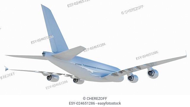 White modern airplane. Isolated on white background
