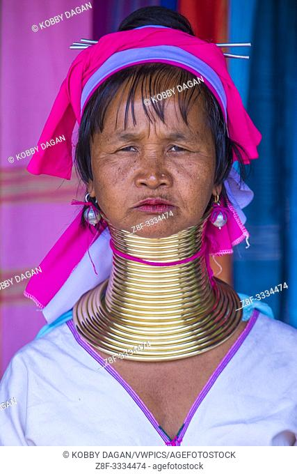 Portrait of Kayan tribe woman in Kayan state Myanmar