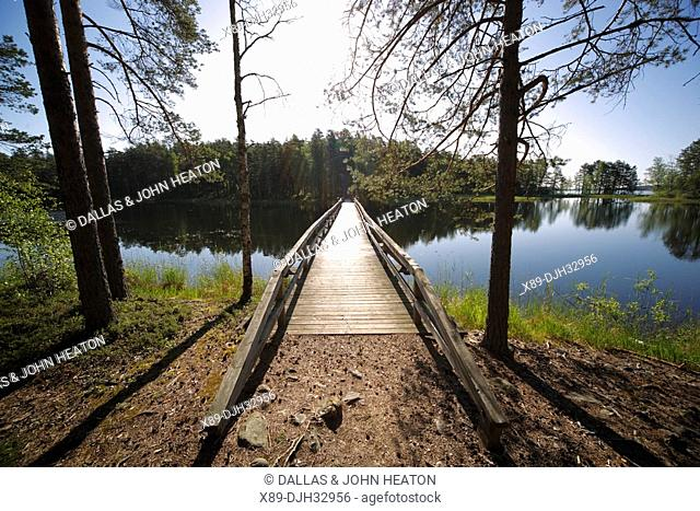 Finland, Region of Southern Savonia, Savonlinna, Punkaharju Ridge, Punkaharju Nature Reserve, Saimaa Lake District, Walking Bridge over Lake Puruvesi
