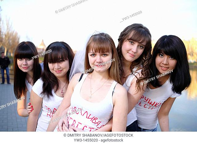 Group of women outdoors. Bachelorette party. Russia